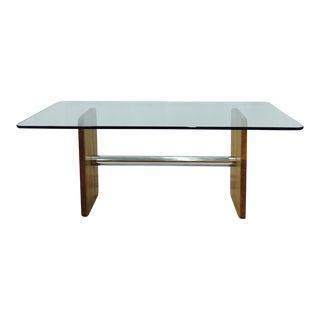 Vintage Mid-Century Modern Chrome & Wood Table