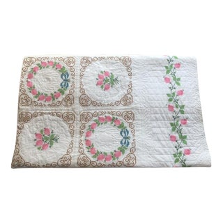 Vintage Hand Embroidered Quilt