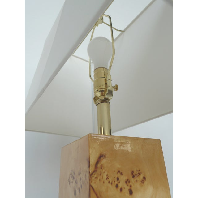 Baughman-Style Lacquered Burl Wood Lamps - A Pair - Image 2 of 9