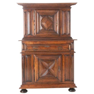 French 17th Century Louis XIII Walnut Buffet A Deux Corps