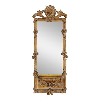 Hollywood Glam 1940s Italian Ornate Scrolled Mirror w/Shelf