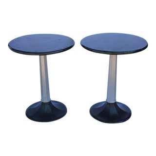 1930s Industrial Round Bistro Tables - a Pair