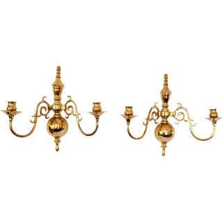 Vintage Solid Brass Candle Wall Sconces - Pair