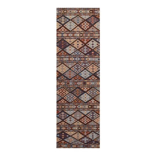 Hand Knotted Geometric Runner Rug - 2' X 8'