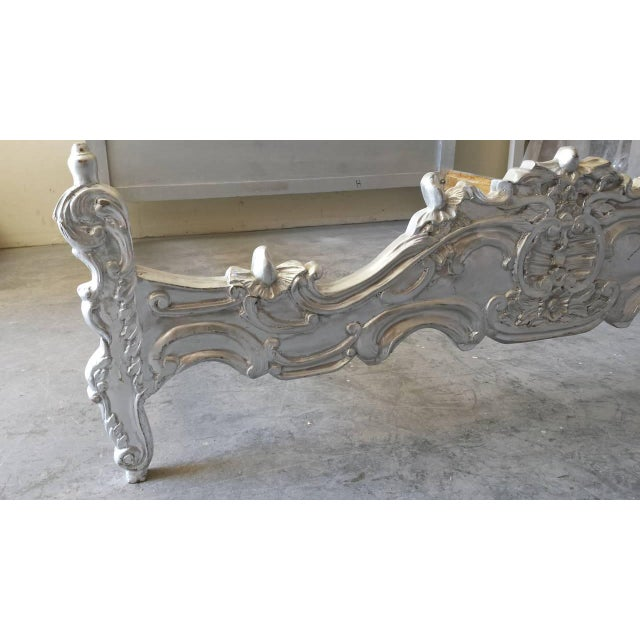 French Louis XV Style King Bed, Silver Leaf Finish - Image 4 of 4