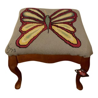 1970's Butterfly Needlepoint Footstool