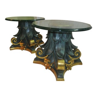 Green & Gold Wood Columns Accent Tables - A Pair