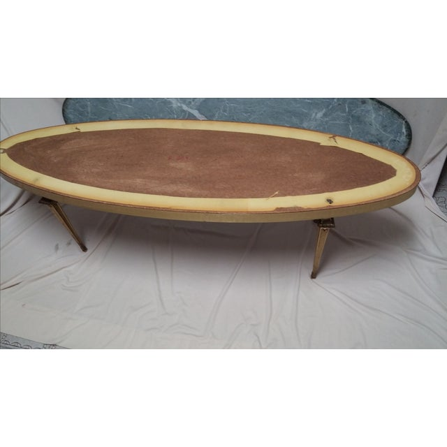 Marble Top Wire Coffee Table: Brass Metal & Marble Top Coffee Table