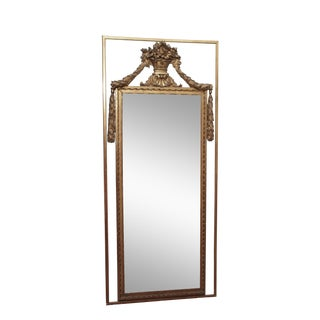 Tall, Early 19c Louis XVI Style Mirror with an Urn and Garland Ropes