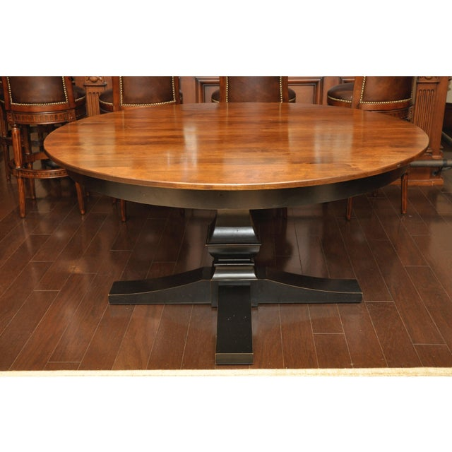 black finish cherry wood round dining table chairish. Black Bedroom Furniture Sets. Home Design Ideas
