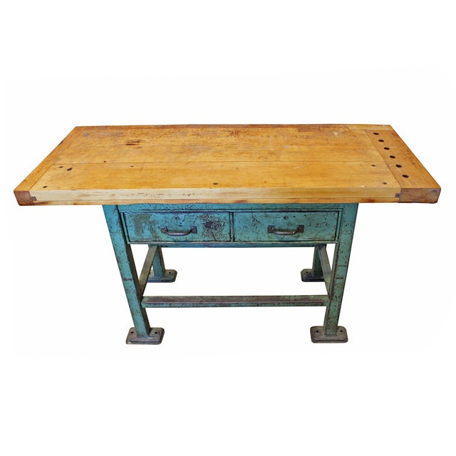 Image of Vintage Butcher Block Work Bench Console