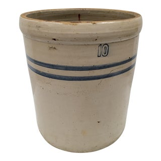 Antique Hand Crafted 10 Gallon Stoneware Crock