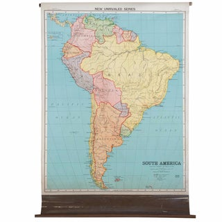 Antique Nystrom Pull Down Map of South America