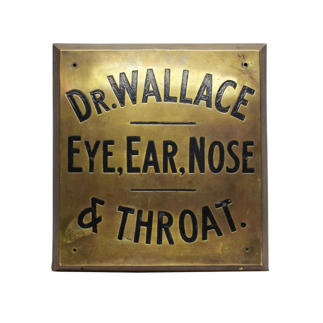 Image of Dr. Wallace Vintage Brass Sign