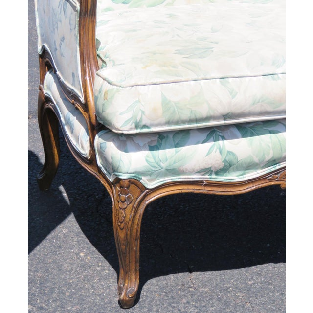 Louis XV Upholstered Carved Walnut Bergeres Marquis Armchairs- A Pair - Image 4 of 5