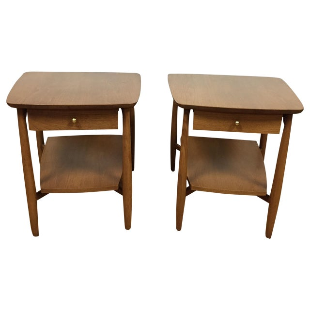 Bleached Walnut End Tables - A Pair - Image 1 of 5