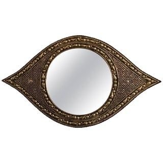 Eye Ball Form Art Deco Style Metal Wall Mirror