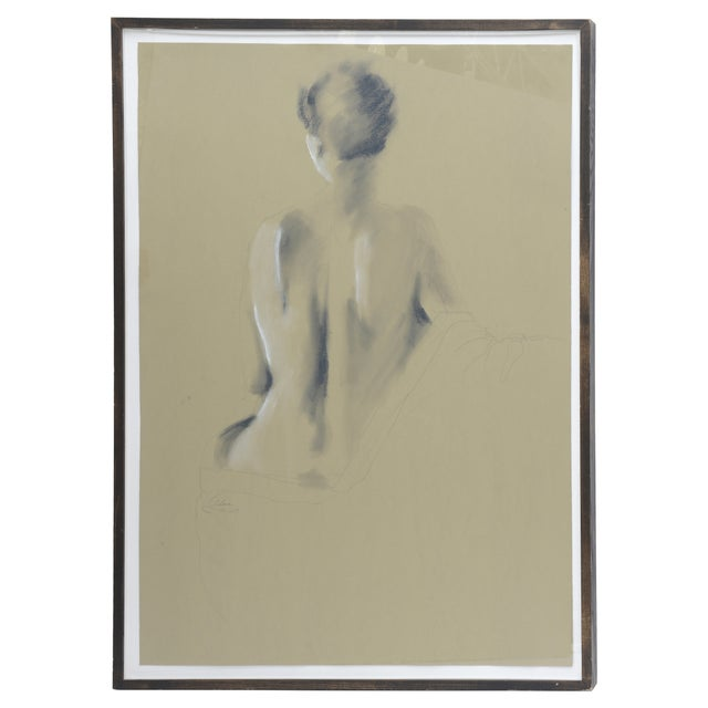 Image of Signed Female Nude Drawing