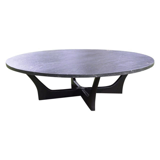 Vintage mid century slate coffee table chairish Slate top coffee tables