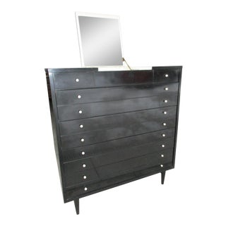 American of Martinsville Ebonized Highboy or Chest of Drawers with Flip Top Mirror