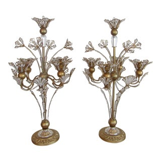 Crystal 5 Light Floral Design Candelabras - A Pair