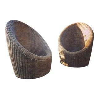Mid Century Rattan Pod Chairs - Pair