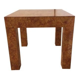 Milo Baughman Style Burl Formica Parsons Table