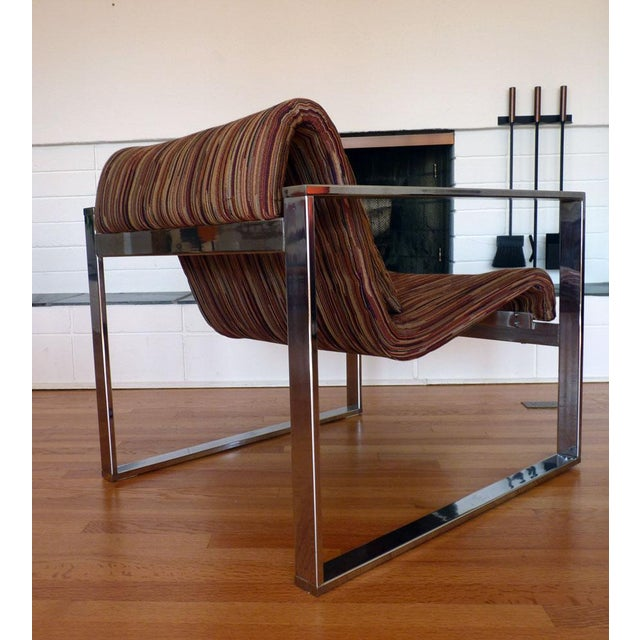 Milo Baughman MCM Chrome Lounge Chair - Image 5 of 9