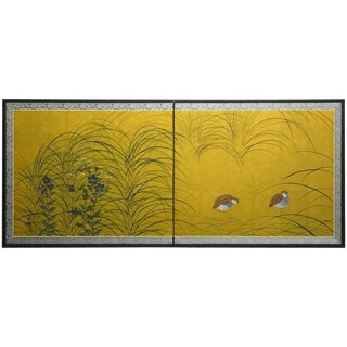 Japanese Two-Panel Autumn Quail and Flora Gilt Screen