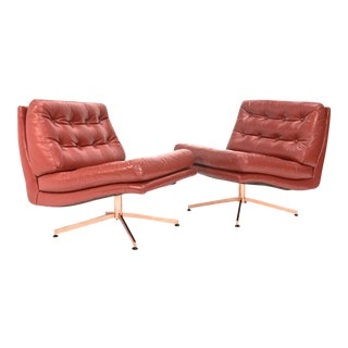 Founders Leather & Bronze Lounge Chairs - A Pair
