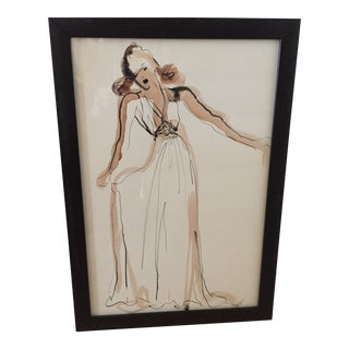 Hand Colored Fashion Drawing of Beige Gown