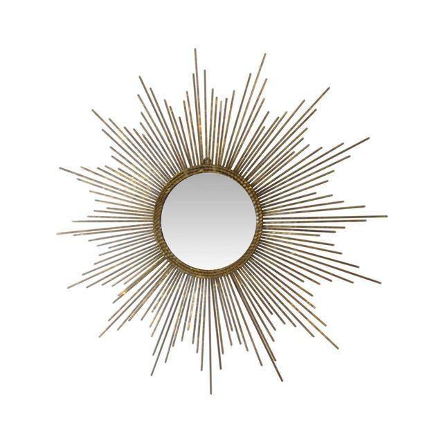Image of Hollywood Regency Gold Sun Burst Mirror