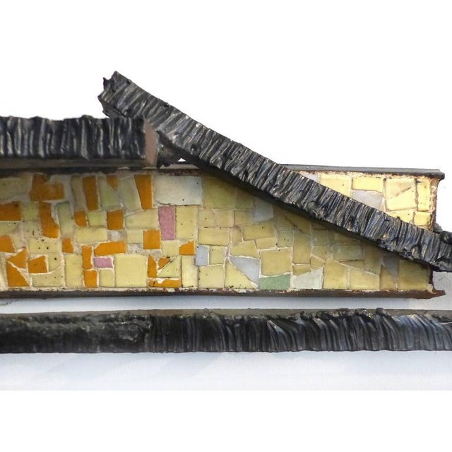 1920s French Abstract Iron & Mosaic Tile Wall Sculpture - Image 7 of 11