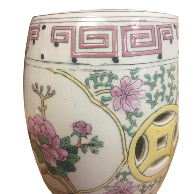 Vintage Porcelain Mini Chinoiserie Garden Seat - Image 2 of 2
