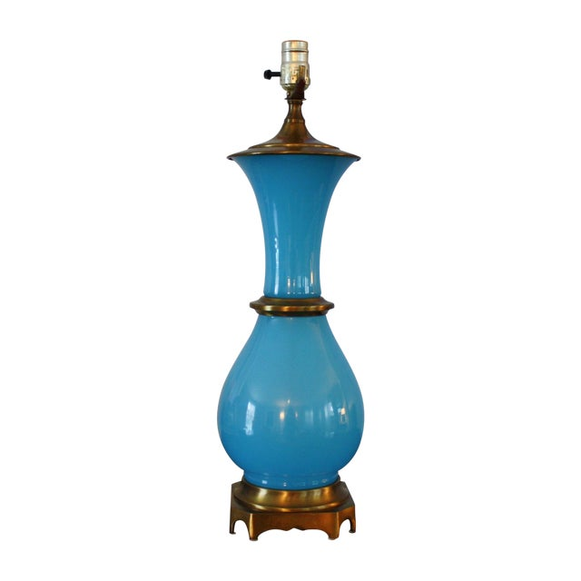Vintage Murano Opaline Blue Lamp - Image 1 of 11