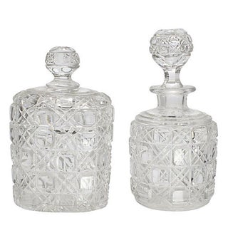 Antique Cut Glass Vanity Bottles - A Pair