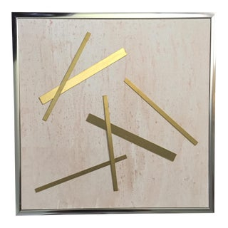 "Original Mixed Media Modernist Geometric Brass ""Pixie Stick"" Framed 3d Canvas Art"