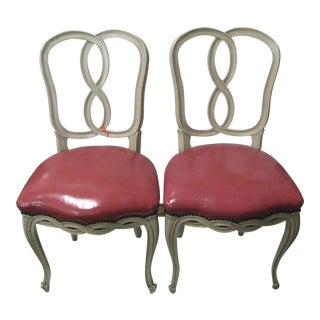 Italian Painted & Pink Leather Chairs - A Pair