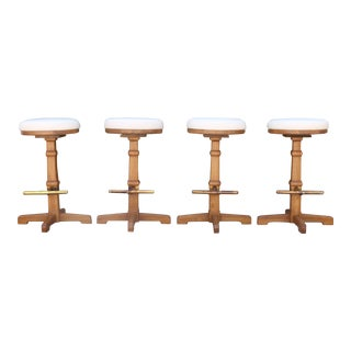 Drexel Leather Bar Stools - Set of 4