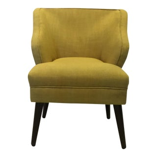 Mid-Century Style Yellow Upholstered Accent Chair