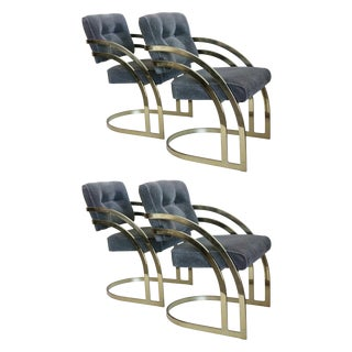 Curved Brass Cantilever Dining Chairs - Set of 4
