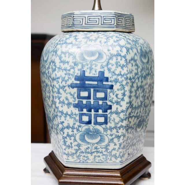 Image of Pair of Hexagon Chinese Lidded Jars as Table Lamps