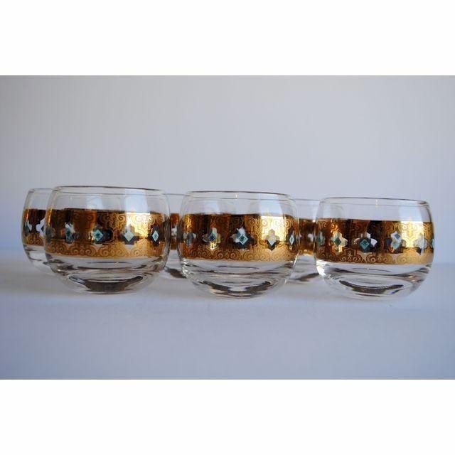 Image of Vintage Culver Seville Gold & Blue Cocktail Set
