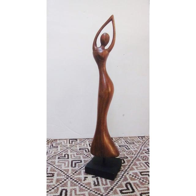 Vintage Modernist Carved Wood Woman Sculpture - Image 3 of 8