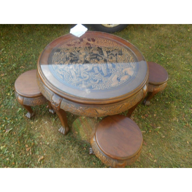 Vintage Japanese Hand Carved Tea Table Dining Set - Image 3 of 9