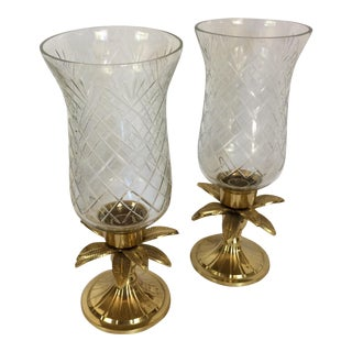 Vintage Etched Crystal & Brass Pineapple Design Candle Holders - a Pair