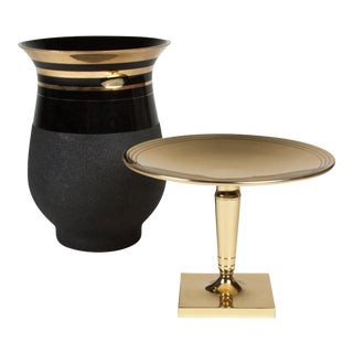 Brass Tazza and a Black Glass Vase