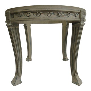 French Carved Petite Round Lamp End Table