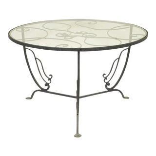 Vintage Salterini Wrought Iron Art Nouveau Deco Patio Garden Round Coffee Table