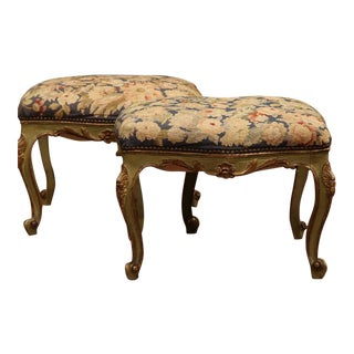 19th Century French Louis XV Painted & Needlepoint Stools - A Pair